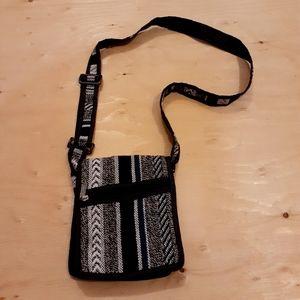 $5 Add-on Black & White Textile Messanger Bag